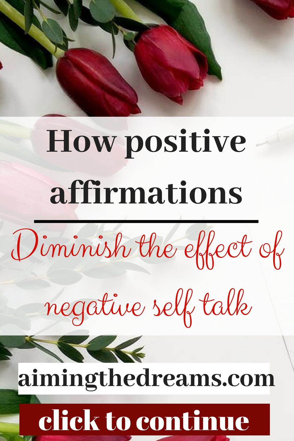 Positive affirmations help in diminishing the impact of negative self talk. You will start having positive oit look for life.