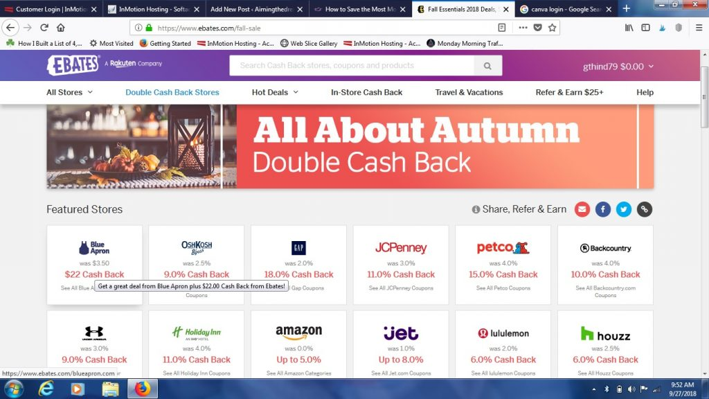 Earn cashback with Ebates for free