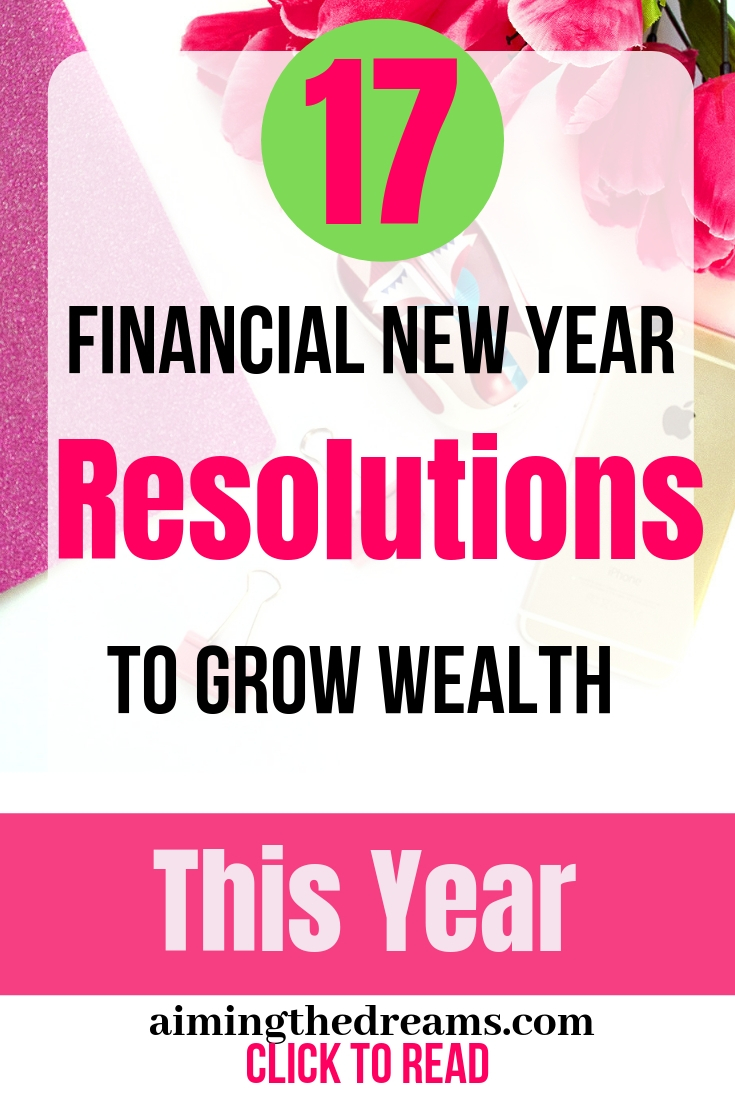Financial new year resolutions to make #money #goals and #grow #wealth this year.