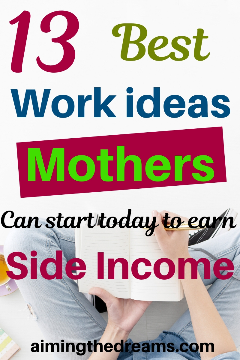 13 best #workifromhome , #ideas for mothers to start today and #makemoneyonline. #sidehustle to make money.