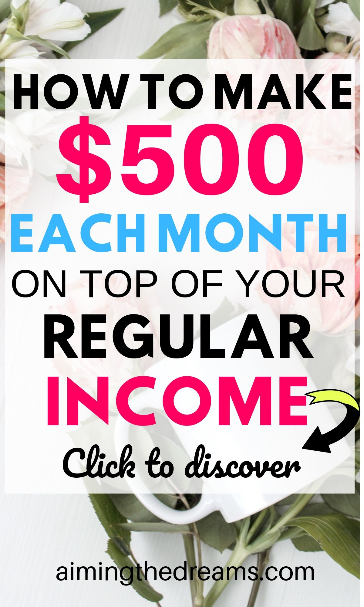 How to make $500 each month on top of your regular income. it is possible to make some extra money with side hustles to work from home.